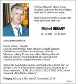 Décés Michel Urbany